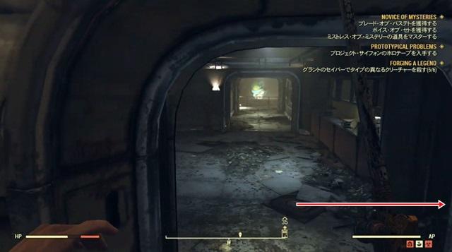 下りてきた階段のすぐ右側の通路