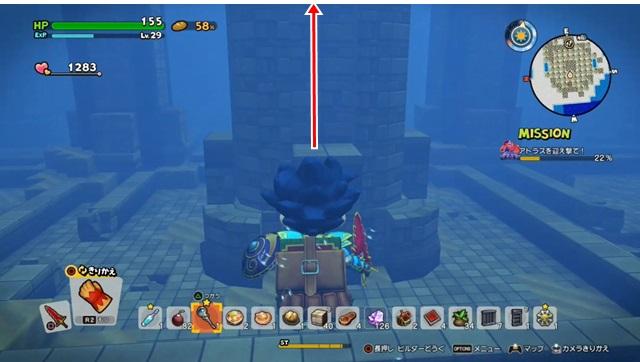 大きな柱を上がっていく
