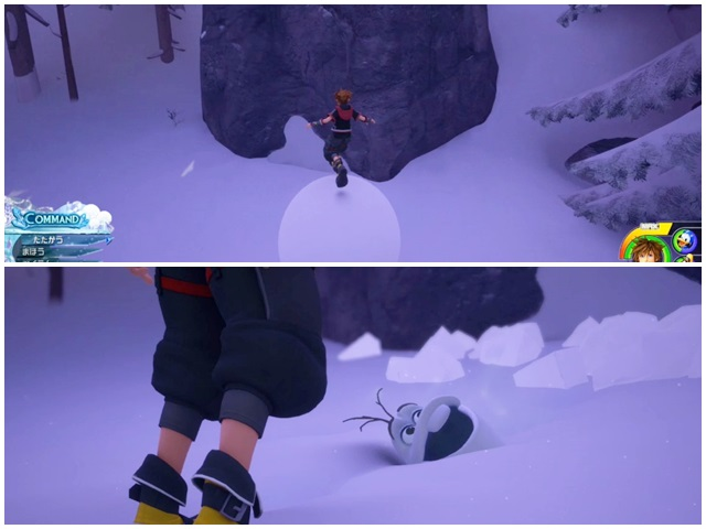 雪玉に飛び乗って岩にぶつかる