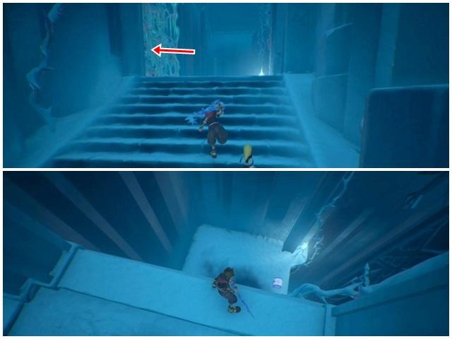 階段を上がっての氷のカベ