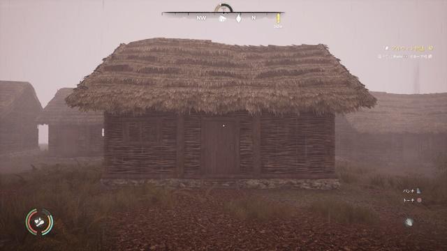 ワトル壁+藁葺き屋根